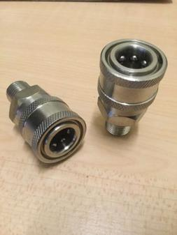 "2- Power Pressure Washer Fitting 1/4"" MPT Male Stainless Ste"