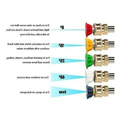 5 PCS High Pressure/Power Washer Spray Nozzle Kit 5 Pack Qui