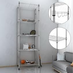 Homdox 5 Tier Steel Wire Shelving Unit on Wheels,Chrome Shel