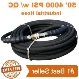 """Pressure Washer Parts Hose 3/8"""" x 50' 4000psi With Quick Con"""