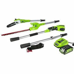 Greenworks 8.5' 40V Cordless Pole Saw with Hedge Trimmer Att