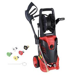 Electric Power Washer w/ Hose Reel 3000PSI 5 Nozzles Soap Ta