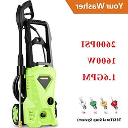 guiok Electric Pressure Washer 2600 PSI 1.6 GPM High Pressur