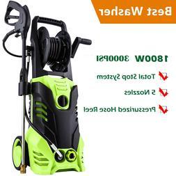 Electric Pressure Washer W/ Hose Reel Power Hose Nozzle Gun