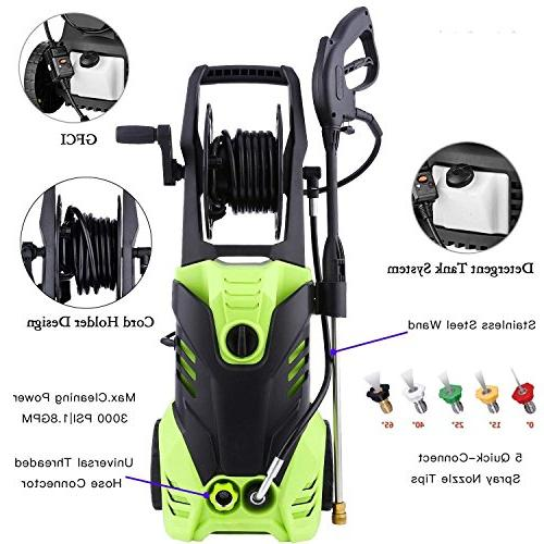 Luckdeal Electric 3000 PSI Power 1800W, Professional Washing Machine 1.8GPM + Power Nozzle Gun+ Adapters