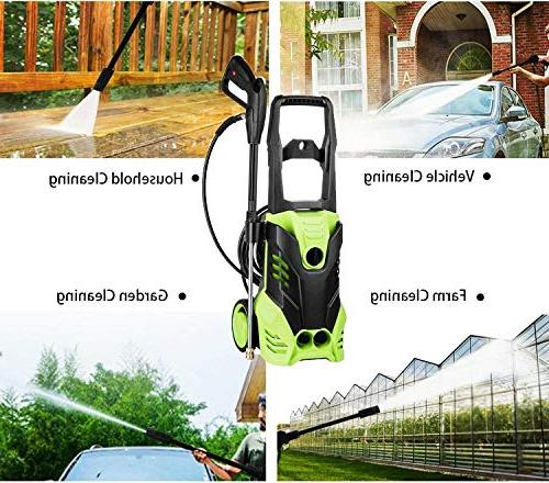Meditool Pressure Washer, 3000 1.8 GPM Washer, Power Adjustable 5 Spray Onboard Detergent Tank, with 2 Rolling