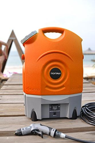 Ivation Multipurpose Portable Washer Runs Built-In Rechargeable Battery, and 12v Car Integrated Roller Wheels