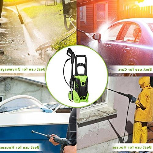 Meditool Pressure 1.8 GPM Electric Pressure Washer, Power Washer Adjustable 5 Spray Nozzles, Onboard with 2 Rolling Wheels, 1800W