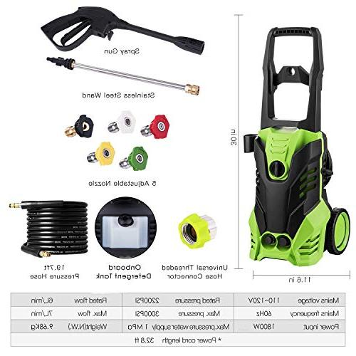 Pressure Washer, 3000 1.8 Electric Pressure Washer, with Adjustable Onboard Detergent Tank, 2 Rolling