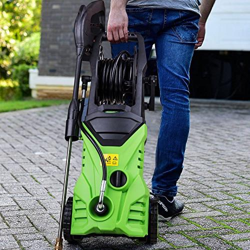 Schafter 3000 Electric Pressure Washer 1800W Washer Rolling Professional Washer Cleaner Reel 5 Nozzles