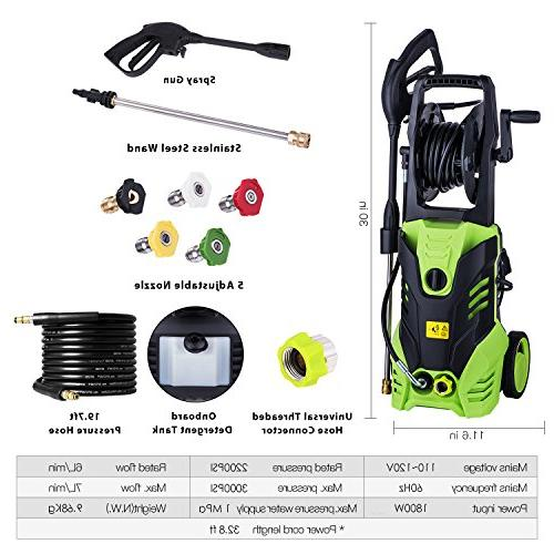 Meditool Pressure Washer, 3000PSI 1.80 GPM Washer, 1800W Rolling Hose Reel, 33 Foot Outdoor Extension Cord