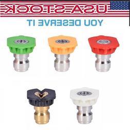 Power Pressure Washer Spray Nozzle Tips 1/4 Quick Connect De